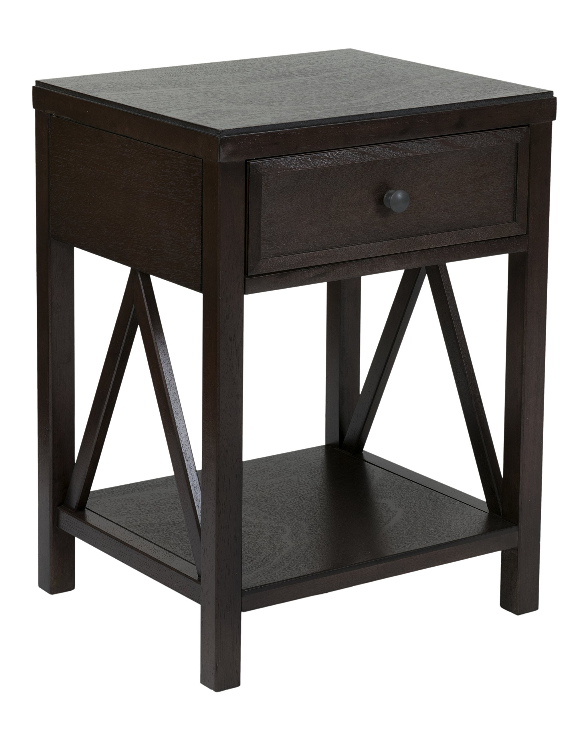 East at Main Wilcox Acacia Wood Square Accent Table, Brown, (15'' L x 17'' W x 23'' H)