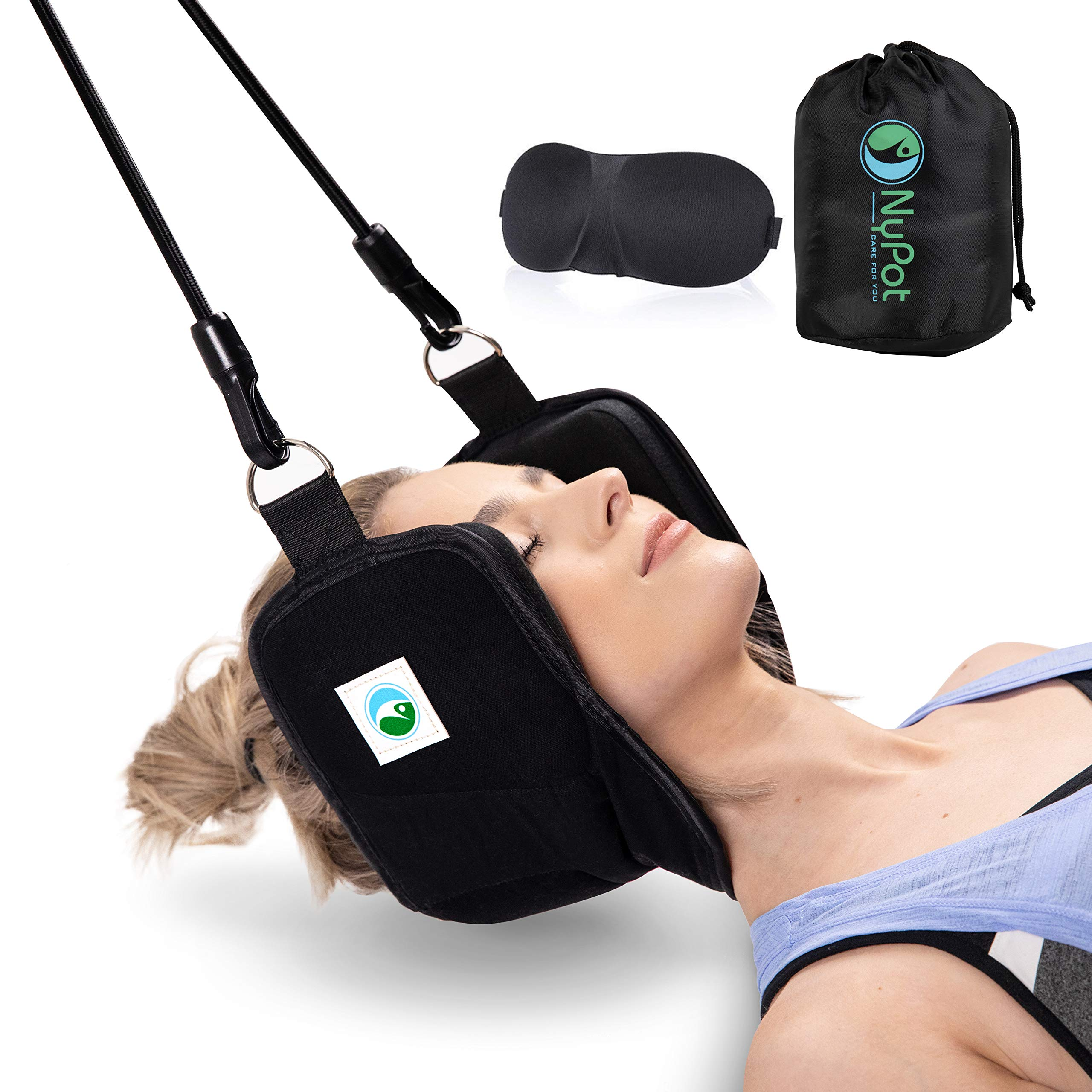NyPot Premium Head Hammock - Portable Cervical Traction Device for Neck Pain Relief Massager for Back and Shoulder Pain Neck Support and Stretcher Relaxation Gift for Mom and Dad with Eye Mask (black)
