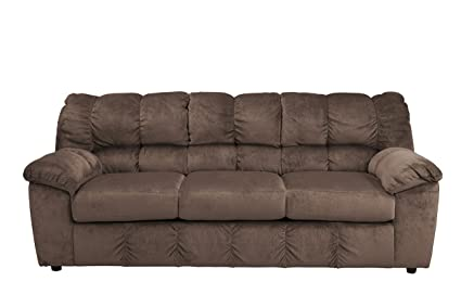 Ashley Furniture Signature Design - Julson Contemporary Sofa - 3 Seats - Puckered Stitching - Café