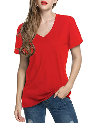 TINYHI Women's Casual V-Neck Short Sleeve Solid Loose BlouseTop T-Shirts