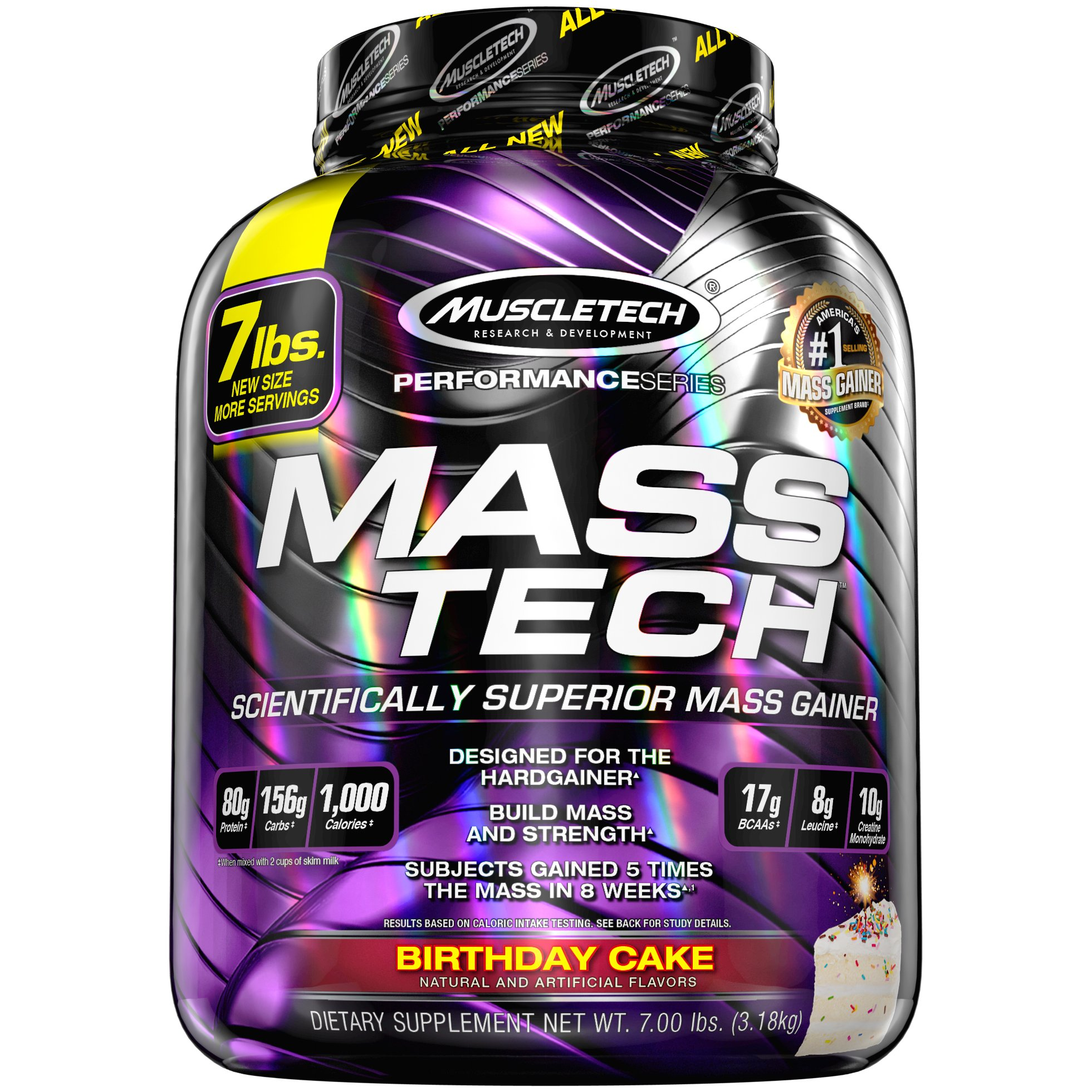 MuscleTech Mass Tech Pro Weight Gainer Protein Powder, Birthday Cake, 7lbs (3.18kg)