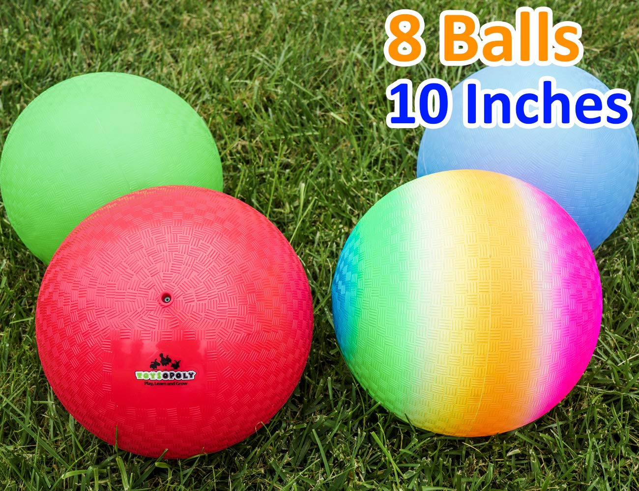 Playground Balls 10 inch Dodgeball (Set of 8) Kickball for Boys Girls Kids Adults - Official Size Bouncy Dodge Ball, Handball, Four Square Picnic School + Free Pump by ToysOpoly