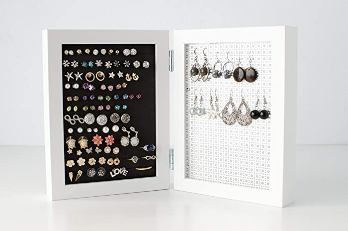 Amazon com: Jewelry Organizer - 5x7 Size White Frame - Stud & Hook