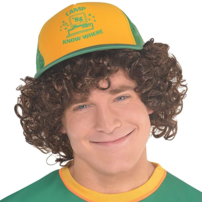 b93d90a15c51d Amazon.com: Party City Stranger Things Dustin Baseball Hat for Adults, One  Size, Features Camp Know Where Headline in Green/Yellow: Clothing