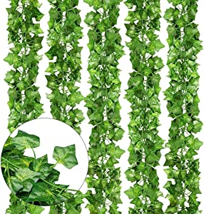 Evealyn Artificial Fake Green Leaves Ivy 12Pack 83 Feet, Fake Plants Vines Garland Greenery Decor for Wedding,Party, Garden,Home Kitchen Indoor & Outdoor Wall Decoration (Ivy Leaves)