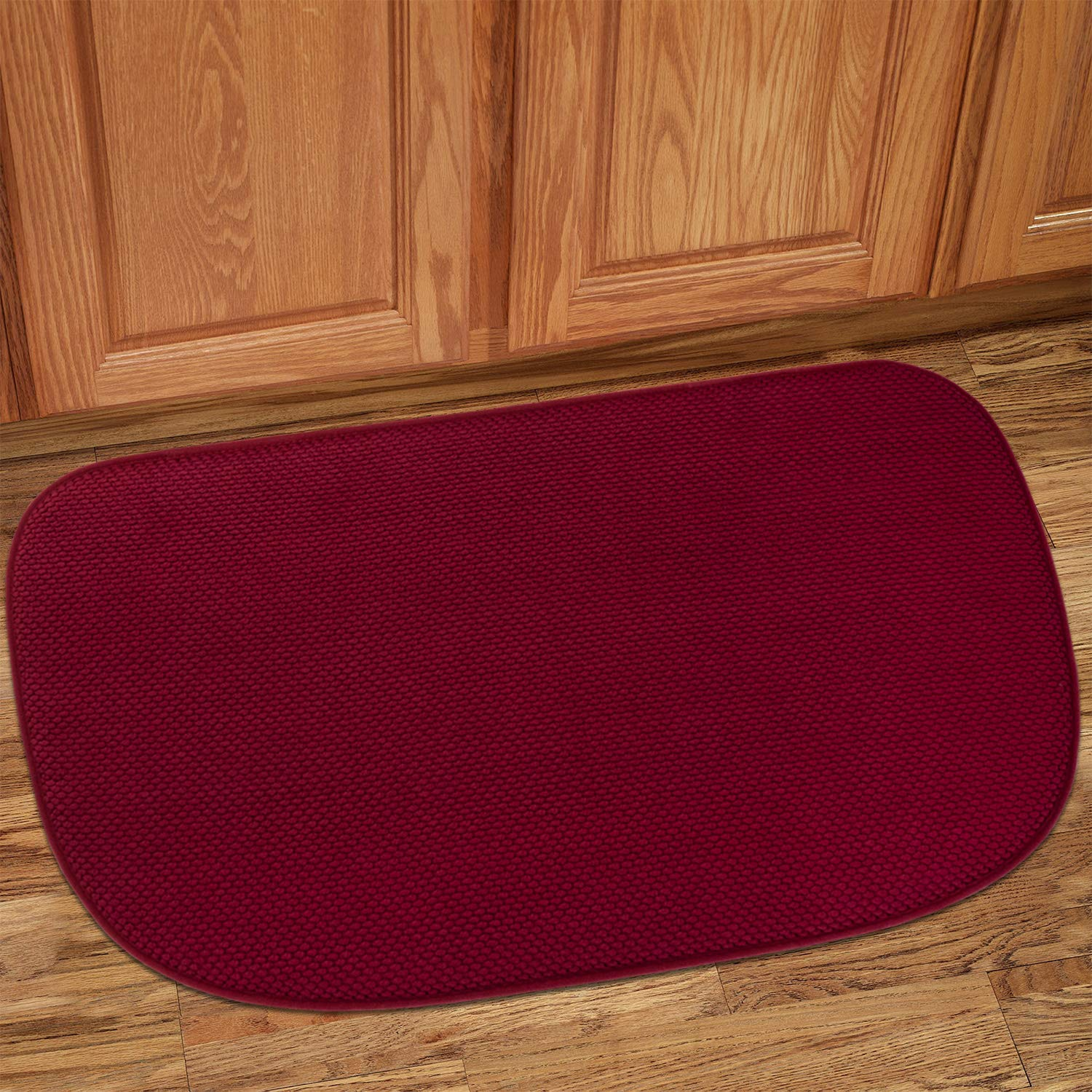 Sweet Home Collection Kitchen Rug Memory Foam Honeycomb Slip Non Skid Soft Comfortable Anti Fatigue Floor Mat, 30'' x 18'', Wine Burgundy by Sweet Home Collection