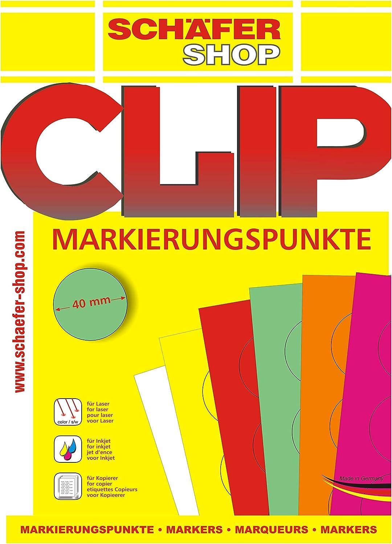 auf DIN A4 B/ögen in 6 Farben rot SCH/ÄFER SHOP 240 St/ück Markierungspunkte Klebepunkte Klebeetiketten bedruckbar
