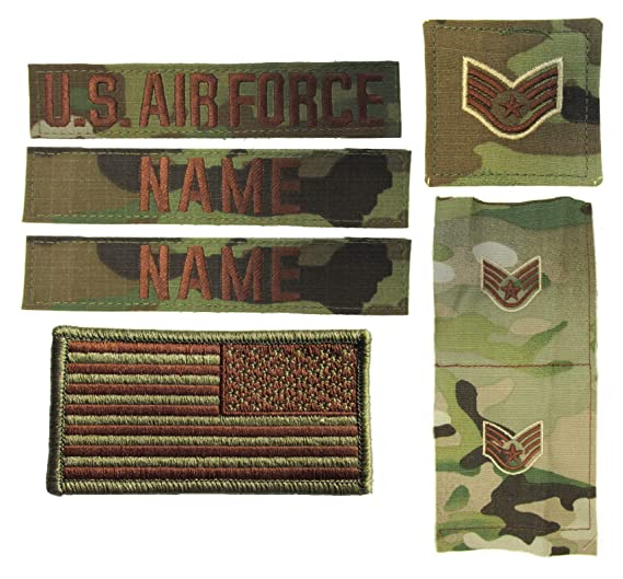 USAF OCP Name Tape Rank Insignia Package - US Air Force Spice Brown