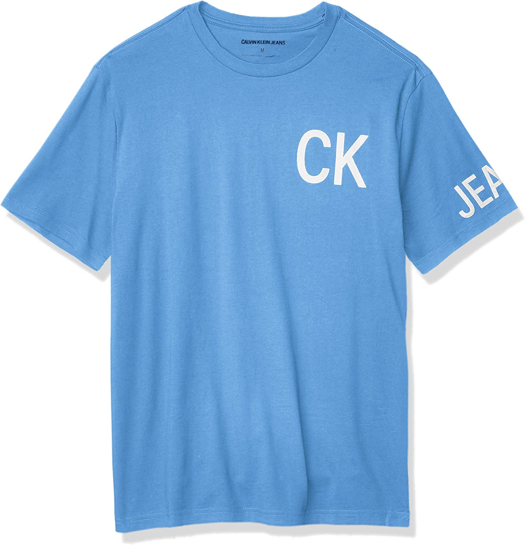 Calvin Klein - Camiseta de manga corta para hombre con logo de Old School - Azul - Small: Amazon.es: Ropa y accesorios