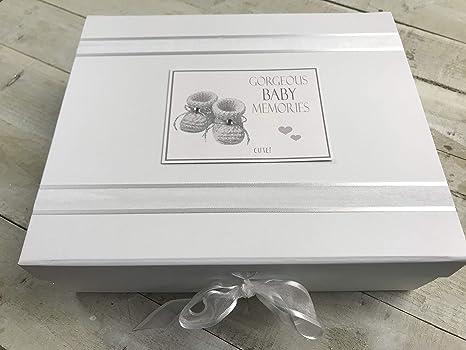 Algodón blanco Tarjetas Gorgeous bebé Recuerdos Album cajas de joyas (grande, Plata): Amazon.es: Bebé