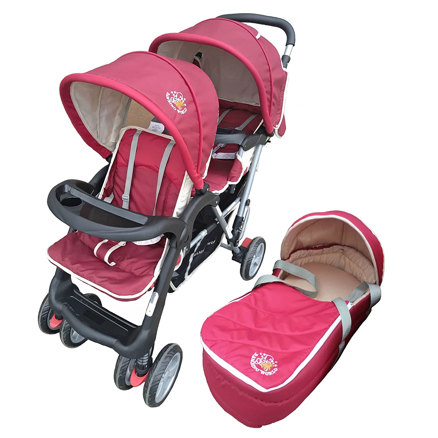 Exclusive Tandem - Twin Pram scarlet - BambinoWorld Bambino World