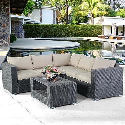 amazon com tangkula 4 pcs patio furniture set garden lawn all rh amazon com corner patio table corner sectional patio furniture