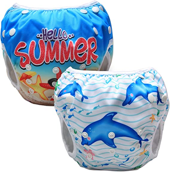Pack of 2 0-3 Years Luxja Reusable Swim Diaper Adjustable Swimming Diaper for Baby Colorful Stars Beach