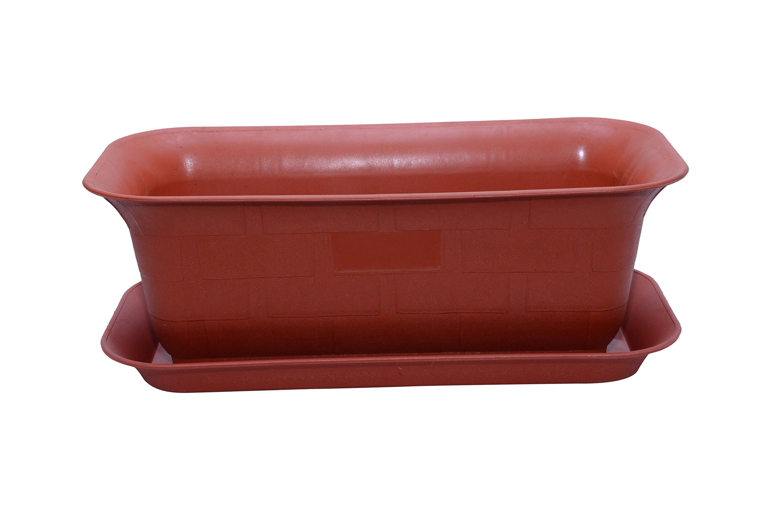 Gardens Need Window Rectangular Planter with Bottom Tray Set (20-inch, Terracotta, Pack of 3 Sets) product image