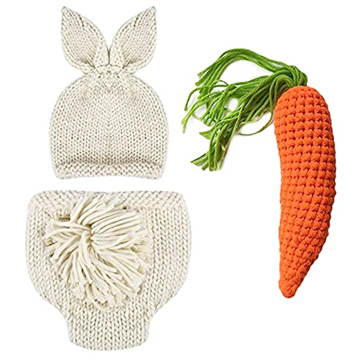 Newborn Photography Props Easter Bunny Rabbit Costume Crochet Knit Outfits  0 to 6 Months (Beige 0577b7bb6264