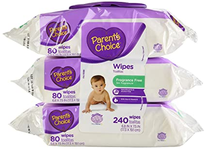 Parents Choice Baby Wipes, Fragrance Free, Quilted Soft, 240ct. by USA