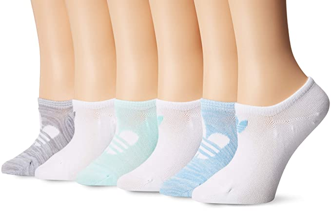 differently 12e14 bb15d adidas Women s Originals Trefoil Super No Show Socks (6-Pack), clear blue
