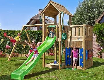 Jungle Gym Mansion Playhouse & 2-Swing Verde Casitas Infantiles de Madera para Jardin con Tobogan y Columpios: Amazon.es: Juguetes y juegos