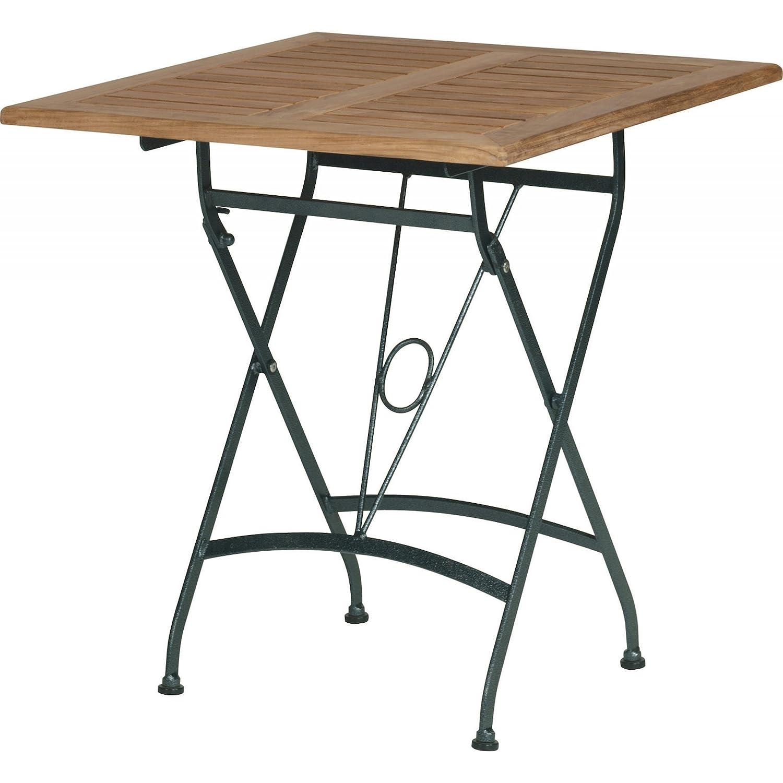 4Seasons Outdoor Lindau Falt-Tisch 70 x 70 cm faltbar Teakholz mit Eisengestell