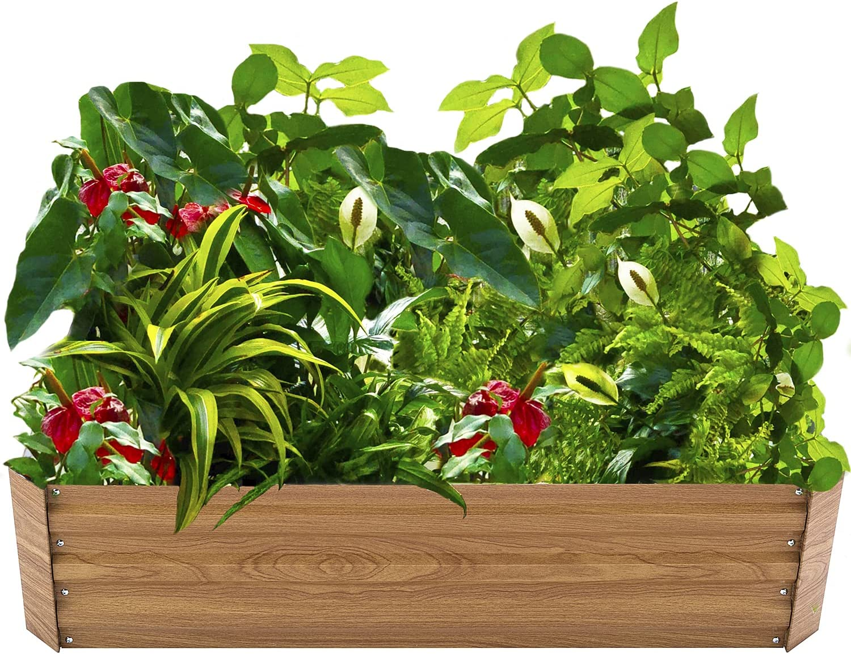 Metal Raised Garden Beds Kits Steel Elevated Planter Box for Vegetable Flower Herb Outdoor, Wood Grain, 4×4×1 ft