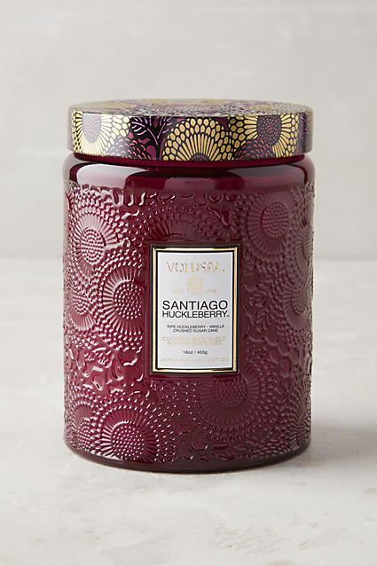 "Limited Edition Voluspa Cut Glass Jar Candle (Purple: ""Santiago Huckleberry"") - anthropologie.c​om"