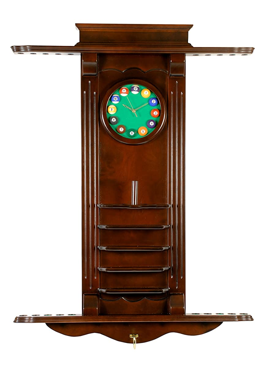 10 Pool Cue Stick Billiard Wall Rack W/ Clock Choose Mahogany or Oak Finish