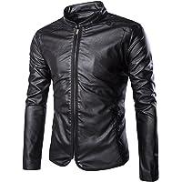 Elonglin Jaqueta masculina de couro sintético para motociclista jaqueta com zíper Col Mao manter quente outono inverno