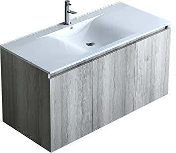 Amazon Com Belvedere Bath 36 Inch Floating Wall Mount Bathroom Vanity Sink Set Natural Grey Oak Finish With White Porcelain Top Modern Farmhouse Fits All Style Decor Kitchen Dining