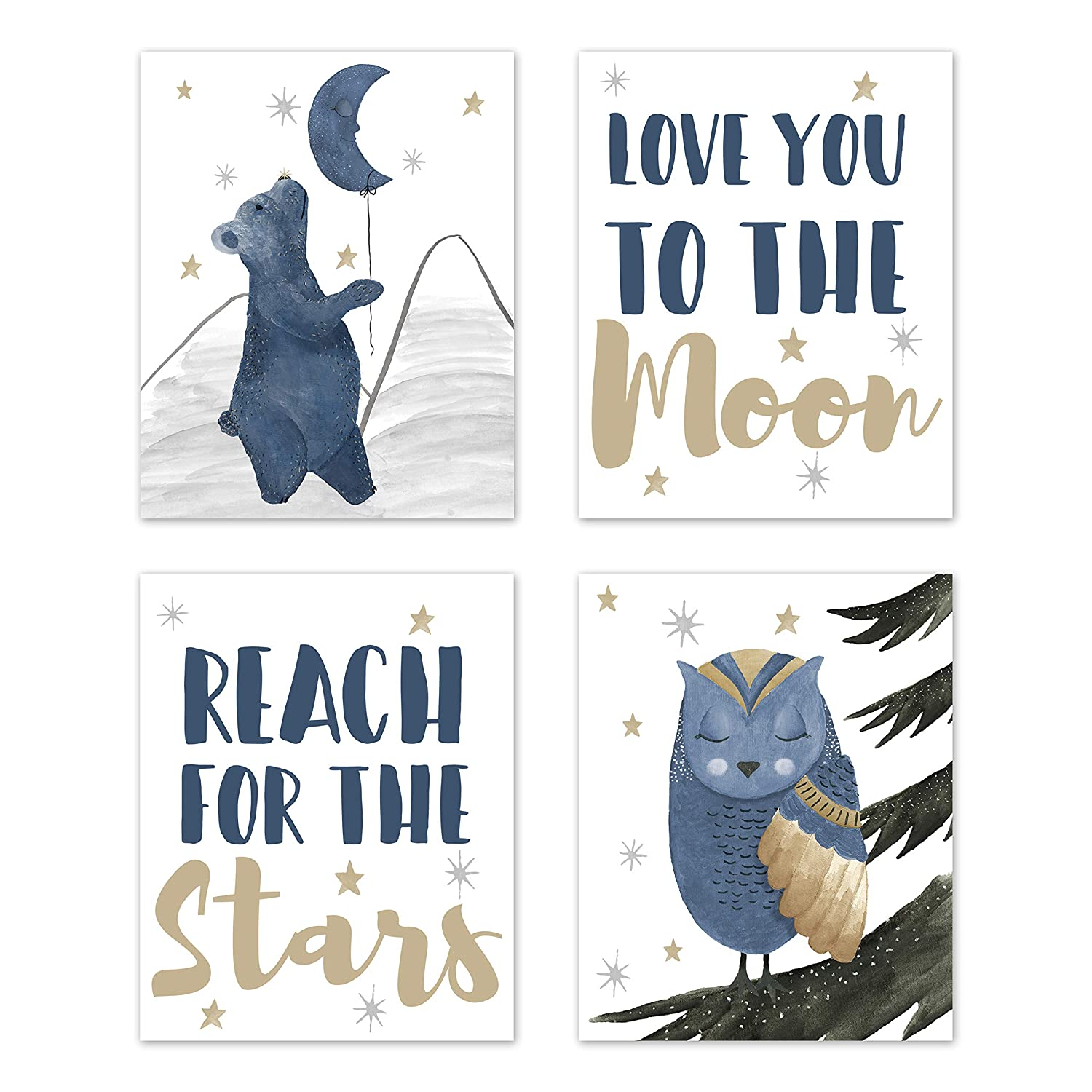 Sweet Jojo Designs Woodland Bear and Owl Wall Art Prints Room Decor for Baby, Nursery, and Kids - Set of 4 - Navy Blue, Grey, Gold and Black Celestial Moon Star Watercolor Forest Animal