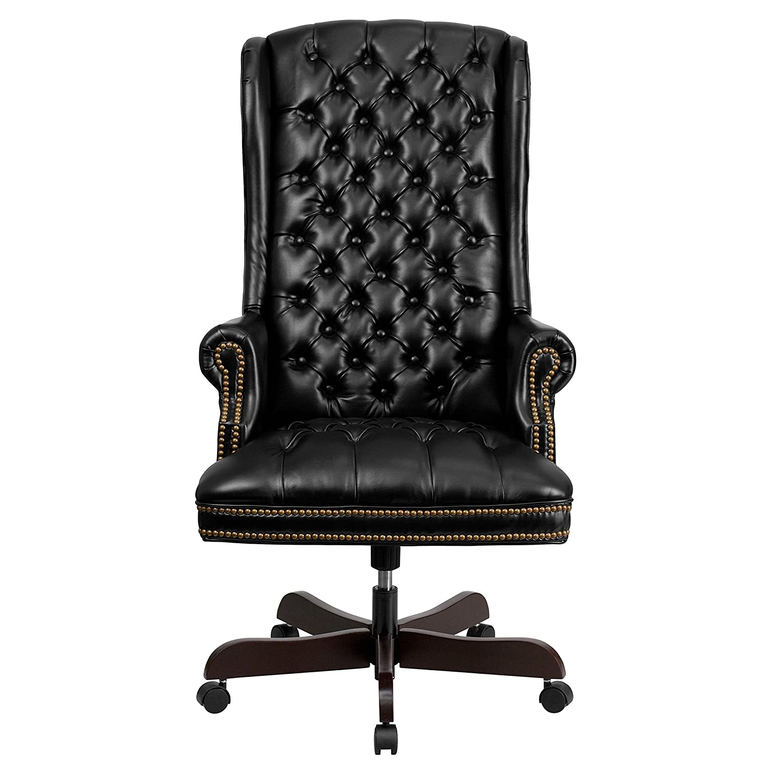 Amazon.com: Flash Furniture High Back Traditional Tufted Black Leather  Executive Swivel Chair With Arms: Kitchen U0026 Dining