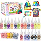 Gifort Tie Dye Kit, Textiles de Tela 18 piezas Colores Vibrantes Pinturas Ropa Tinte Graffiti para Proyectos de…