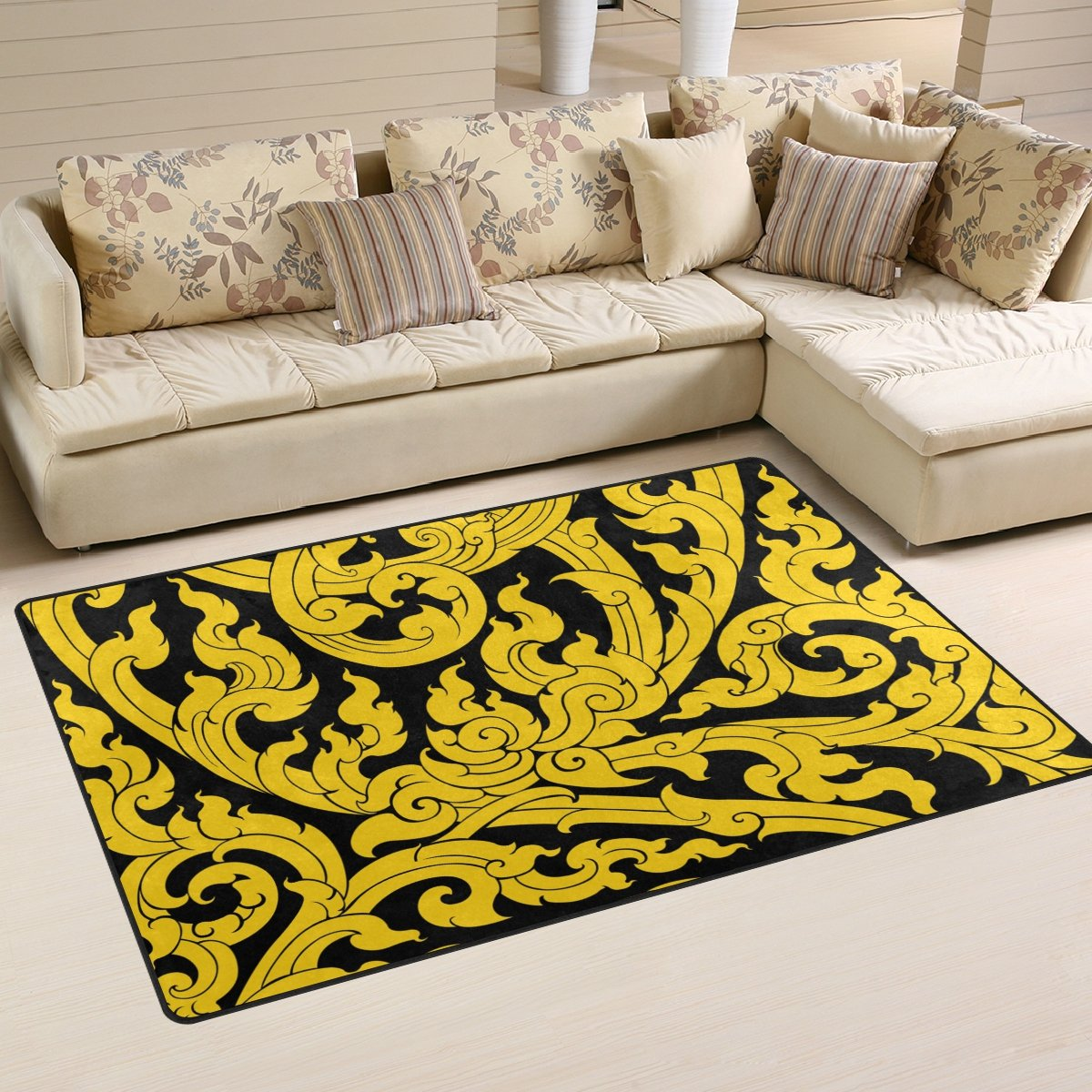 DEYYA Thai Art Tree Leave Non-slip Area Rug Rugs for Living Room Decoration 60 x 39 Inch