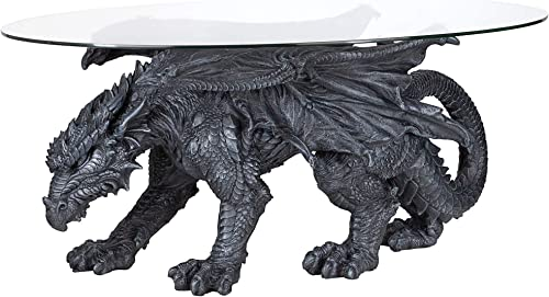 Design Toscano Warwickshire Dragon Gothic Decor Glass Topped Coffee Table