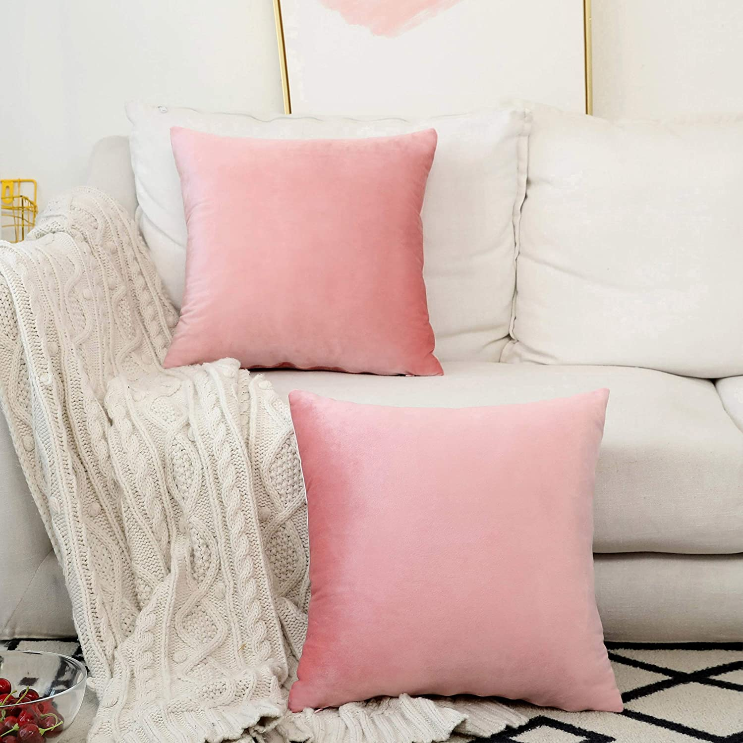 Home Brilliant Pink Throw Pillow Covers Solid Soft Velvet Decorative Accent Pillowcases for Teen Girl, Set of 2, 45cm,(18x18 inches), Blush Pink