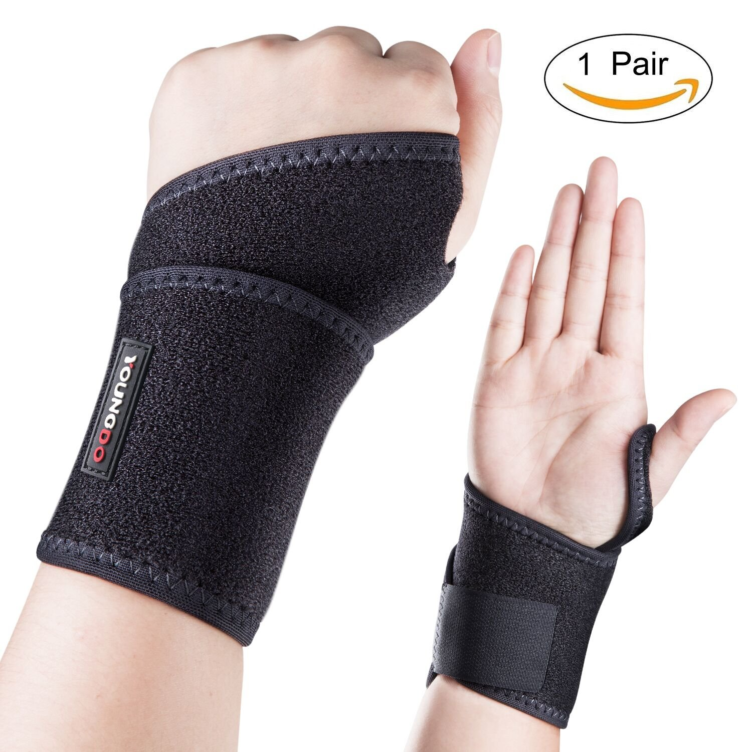 "Sports Wrist Brace, Youngdo 5-7"" Adjustable Wrist Support Wraps with Thumb Loops for Men & Women, Ideal for Tennis Basketball Badminton Volleyball Cycling Gym Fitness (1 Pair)"