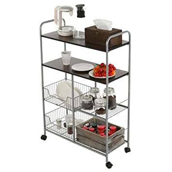 MyGift Rolling Kitchen Cart, 4 Tier Utility Rack With Wire Baskets,  Silver Toned