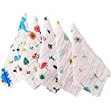 Republic Of Kids - 100% Organic Quality Muslin Cotton 6 Layered Super Absorbent and Soft Wash Cloths/Squares/Reusable Baby Wipes/Baby Towel (30x30 Cms - Pack of 5)