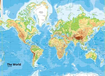 Giant World Physical Map – VINYL – 150 x 210 cm (ca.) [GA]: Amazon ...