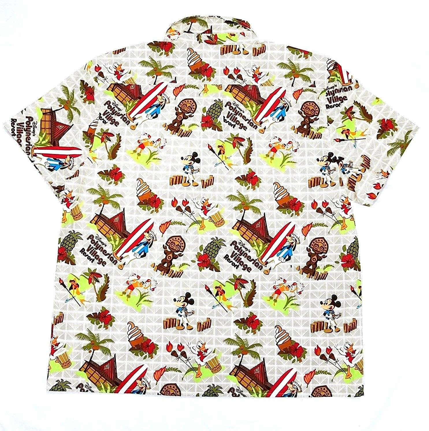 DisneyParks Polynesian Resort Dole Whip Mickey Mouse Hawaiian Camp Shirt Boys
