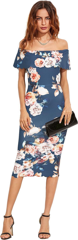 MAKEMECHIC Womens Floral Pencil Dress Knee Length Off Shoulder Cocktail Dress