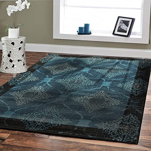 Premium Rugs Soft Plush Modern Rugs 5×8 Contemporary Rugs Blue 5×7 Morrocan Trellis Rug Navy Blue Black Border