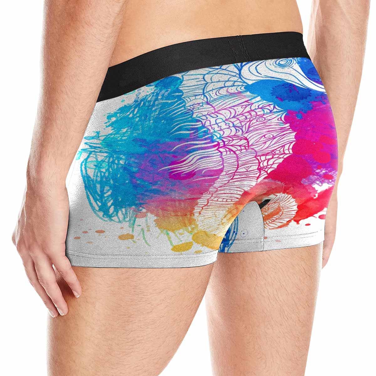 INTERESTPRINT Boxer Briefs Mens Underwear XS-3XL XXL Rainbow Seahorse Vivid Watercolor