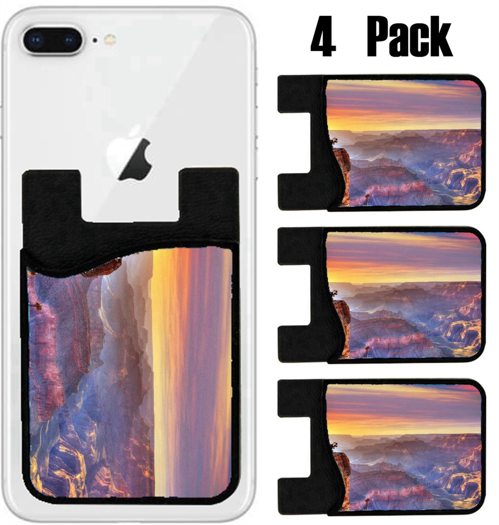 MSD Phone Card holder, sleeve/wallet for iPhone Samsung Android and all smartphones with removable microfiber screen cleaner Silicone card Caddy(4 Pack) Arizona sunset Grand Canyon National Park Yavap