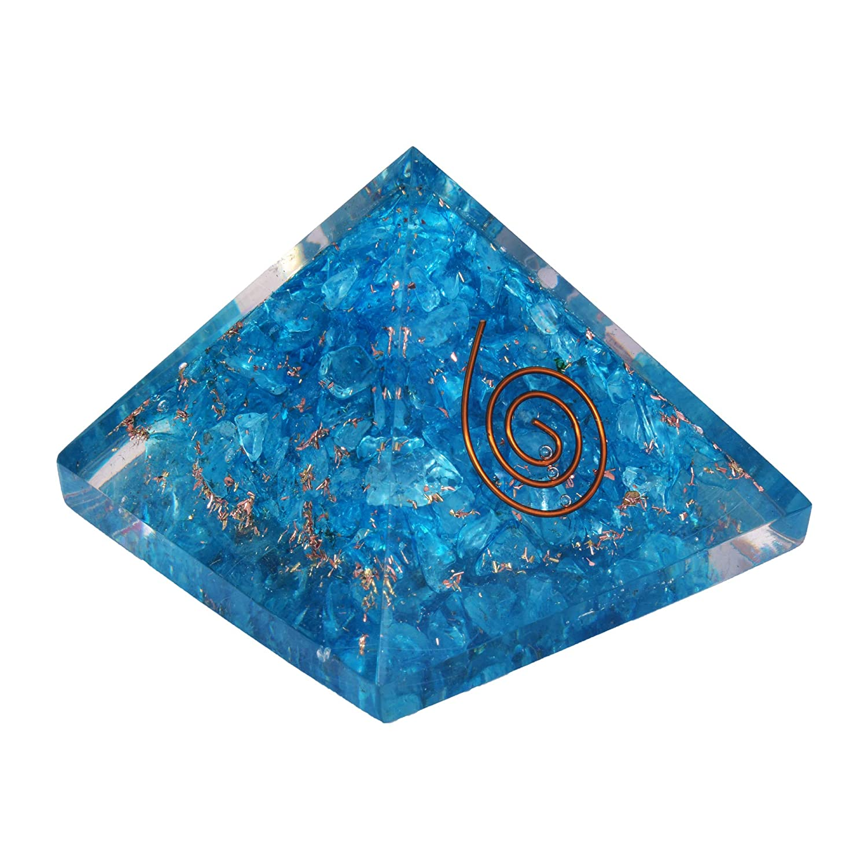 Natural Crystal Blue Agate Orgone Pyramid With EMF Protection Orgonite Energy Generator Orgonite Pyramids