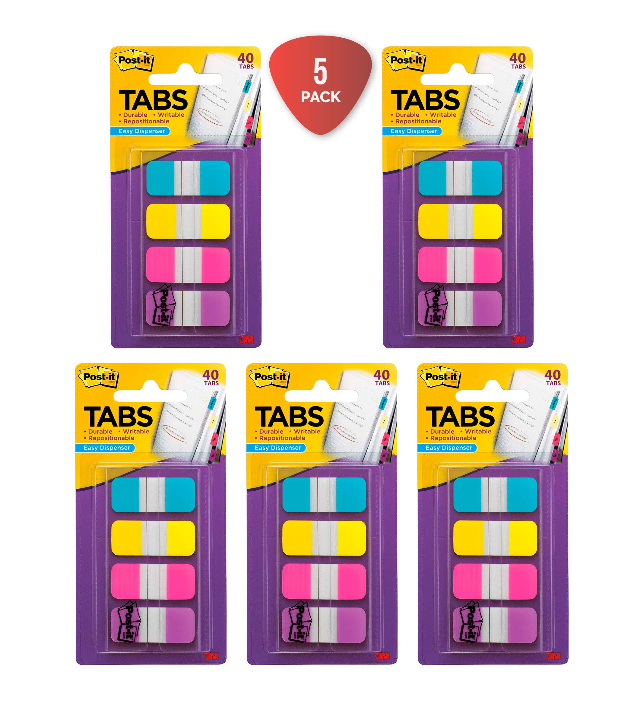 Post-it Tabs.625 in. Solid, Aqua, Yellow, Pink, Violet, Durable, Writable, Repositionable, Sticks Securely, Removes Cleanly, 10/Color, 40/Dispenser, (676-AYPV) Pack of 5 by Post-it