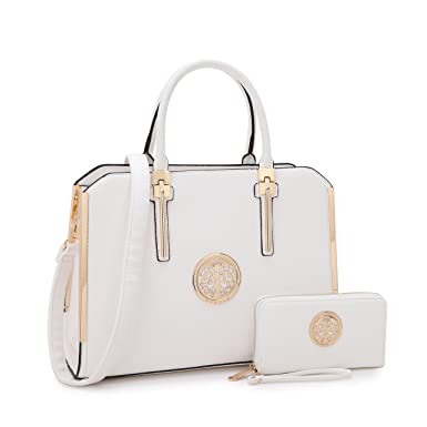 1988 Marco M.Kelly MMK Fashion Handbag for Women Classic Satchel handbag Designer Top handle purse Trending Hobo Tote bag 2 pieces(Handbag/wallet) Set (B-7555-W-White)