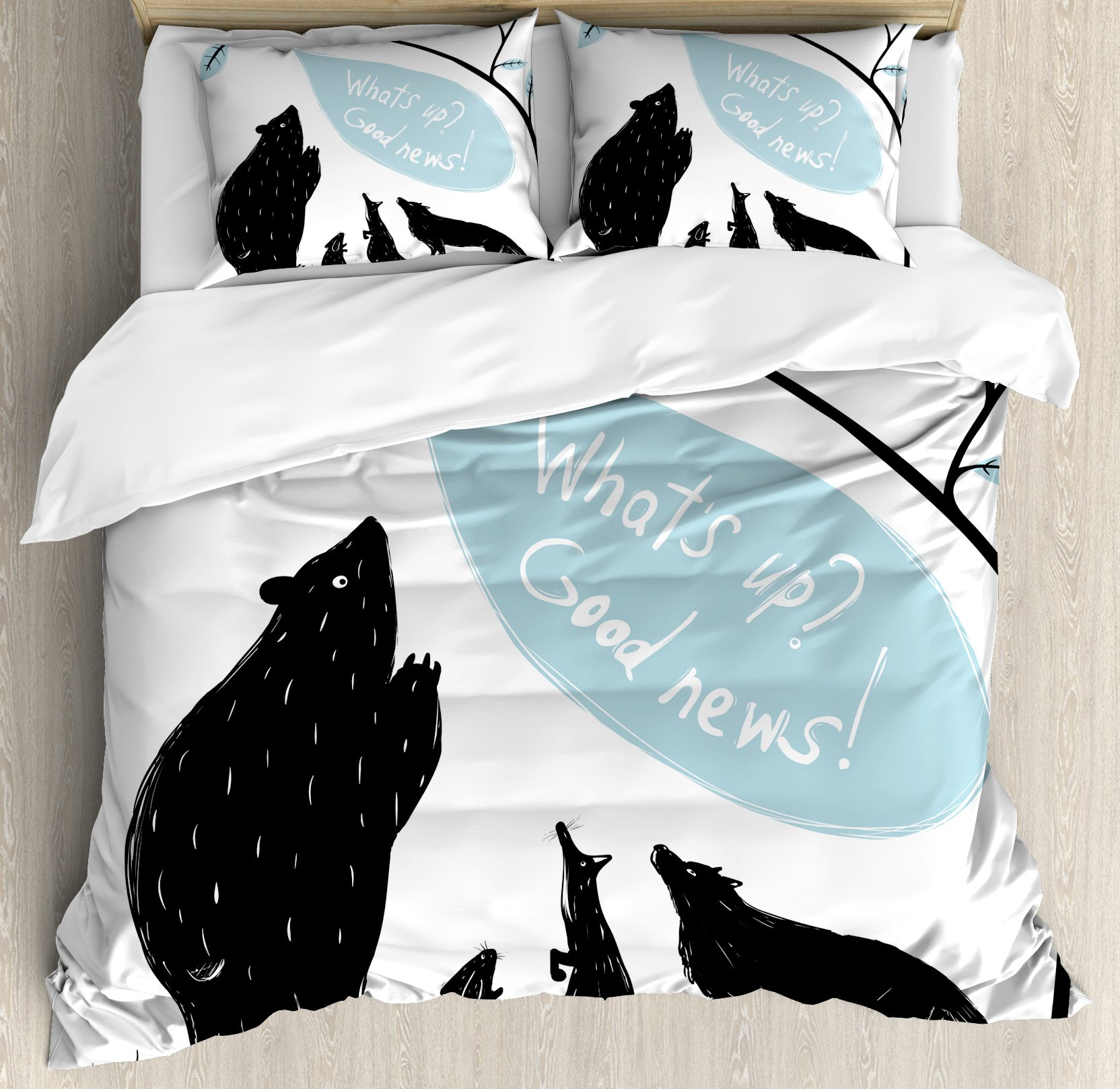 Quirky Decor Queen Size Duvet Cover Set by Ambesonne, Forest Animals Meeting Bird Bringing Good News to His Friends, Decorative 3 Piece Bedding Set with 2 Pillow Shams, Light Blue Black White