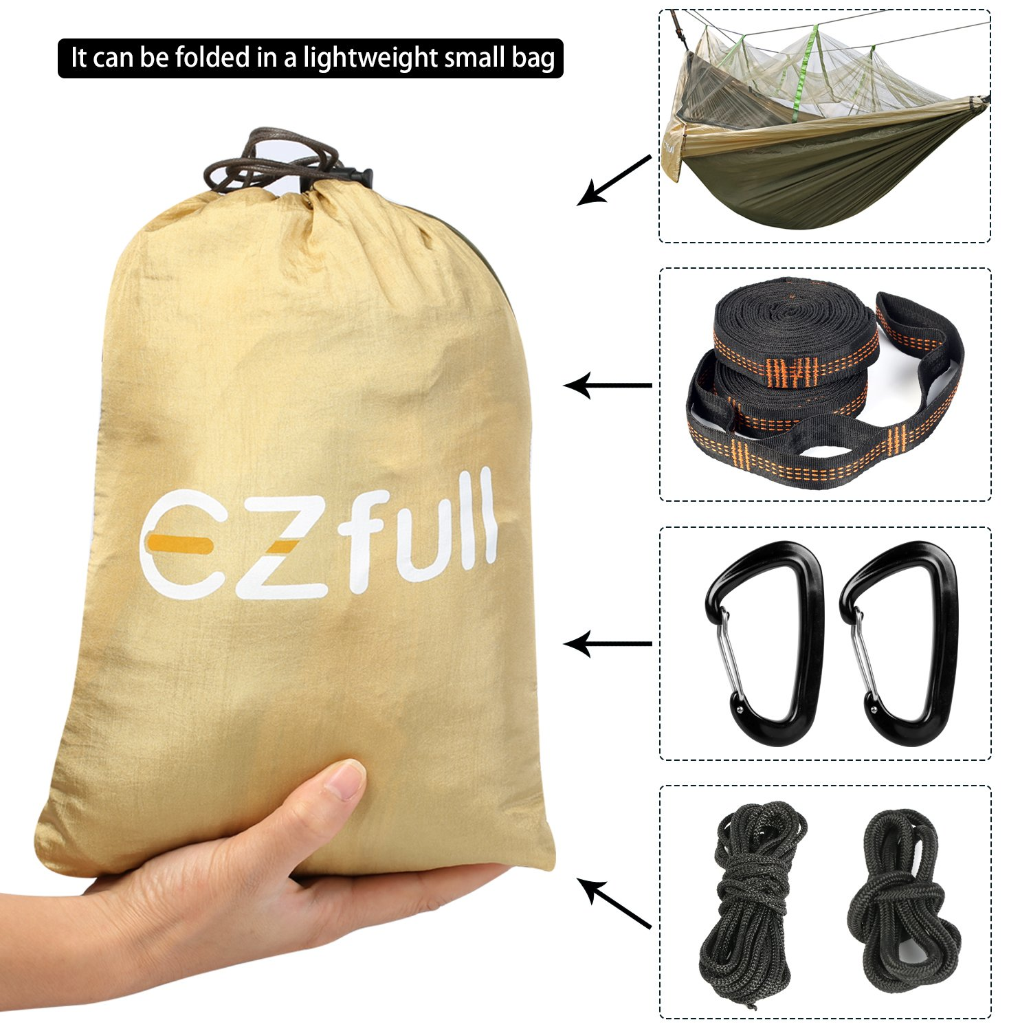 L W EZfull Double Camping Hammock with Mosquito Net 660LBS Bearing Portable Outdoor Hammocks,10ft Hammock Tree Straps /& 12KN Carabiners for Backpacking Camping Travel Beach Yard 118 x 78
