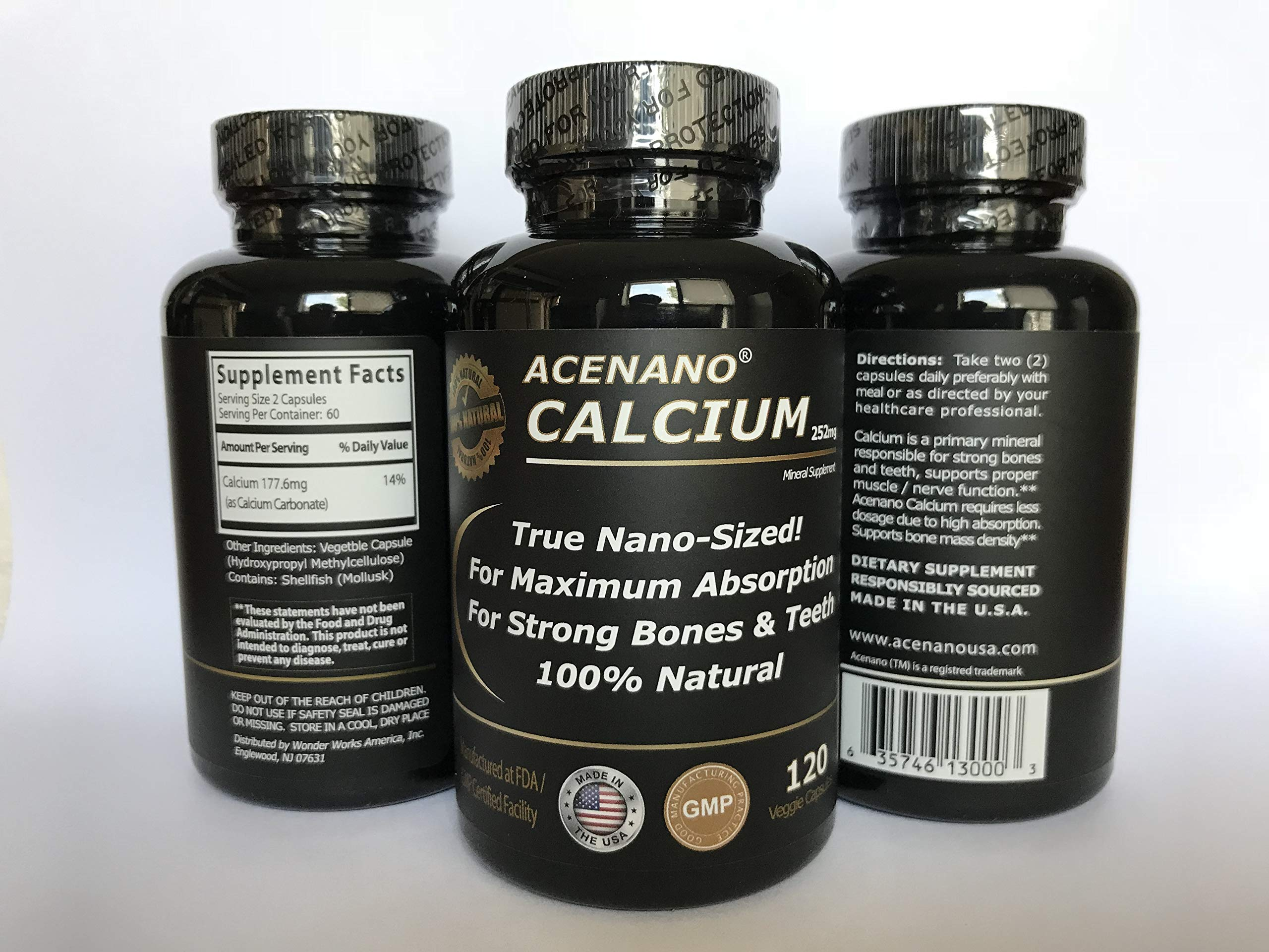 Real Nano Calcium Supplement (3 Bottles, True Nano Sized Calcium for Superior Absorption in Capsule), Made in USA