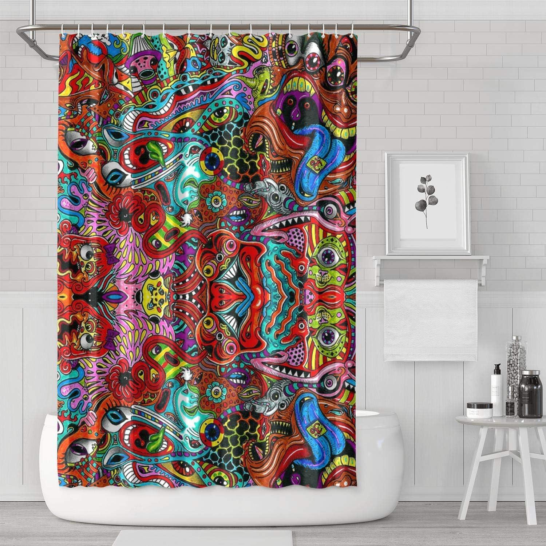 YUYUTE Cortinas de baño Decoración de bañoBath Curtain Trippy Abstract Psychedelic Music Festival Shower Curtain Liner Hooks Durable for Bathroom,Printing Bath Curtains